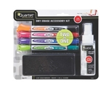 Quartet 2 in 1 Marker Starter Kit, 4 Double-Ended Fine Tip Dry-Erase Markers with Eraser and Cleaner