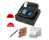 Royal 500DX 16 Department 999 Price 8 Clerk ID Cash Register- Refurbished + 57mm Bond Cash Register Roll Paper - 3 Pack + Counterfeit Detector Pen + Accessory Kit