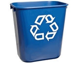 Rubbermaid Commercial Plastic 3.408-Gallon Small Deskside Recycling Container with Universal Recycle Symbol, Legend -We Recycle-, Rectangular, Blue