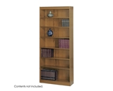 Safco 7-Shelf Square-Edge Veneer Bookcase, Medium Oak [Kitchen]