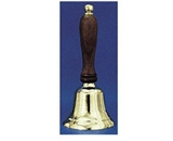 Solid Brass Hand Bell, 10- High, Natural Wood Handle; no. AU-01107