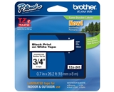 Brother TZ241 3/4 In. Black On White P-touch Tape, TZe-241