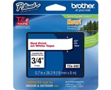 Brother TZ242 3/4 In. Red On White P-touch Tape, TZe-242