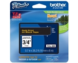 Brother TZ344 3/4 In. Gold On Black P-touch Tape, TZe-344
