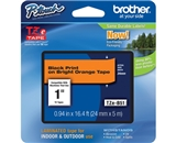 Brother TZB51 1 In. Black On Florescent Orange P-touch Tape, TZ-B51
