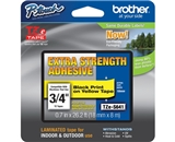 Brother TZS641 3/4 In. Black on Yellow Extra Strength P-touch Tape, TZe-S641