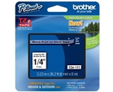 Brother TZe111 Laminated Tape Black on Clear, 6mm