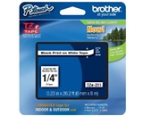 Brother TZe211 Laminated Tape Black on White, 6mm