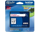 Brother TZe232 Laminated Tape Red on White, 12mm