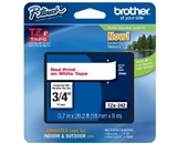 Brother TZe242 Tape, Red, on White, 3/4 Inch