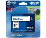Brother TZe243 Tape, Blue on White, 3/4 Inch