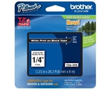 Brother TZe315 Laminated Tape White on Black, 6mm
