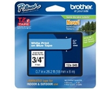 Brother TZe545 Laminated White on blue 3/4 Inch Tape