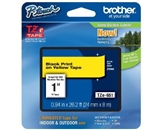 Brother TZe651 Laminated Tape Black on Yellow, 24mm