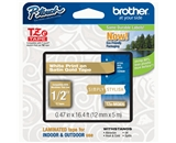 Brother TZeMQ835 Laminated Tape, 12mm, White on Satin Gold