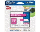 Brother TZeMQP35 Laminated Tape, 12mm, White on Berry Pink