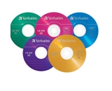 Verbatim CD-RW 700MB 2X-4X DataLifePlus with Color Branded Surface and Matching Case - 20pk Slim Case, Assorted,Minimum Qty. 6 - 94300