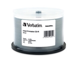 Verbatim CD-R 700MB 52X DataLifePlus White Inkjet Printable, Hub Printable - 50pk Spindle,Minimum Qty. 5 - 94755