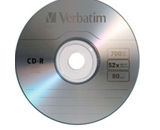 Verbatim CD-R 700MB 52X with Branded Surface - 1pk Slim Case,Minimum Qty. 100 - 94776