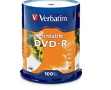 Verbatim DVD-R 4.7GB 16X White Inkjet Printable - 100pk Spindle, Pack of 100, Minimum Qty. 4 - 95153