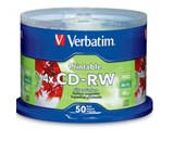 Verbatim CD-RW 700MB 2X-4X DataLifePlus Silver Inkjet Printable with Branded Hub - 50pk Spindle,Minimum Qty. 5 - 95159