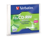 Verbatim CD-RW 700MB 4X-12X High Speed with Branded Surface - 1pk Slim Case,Minimum Qty. 20 - 95161