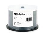 Verbatim CD-R 700MB 52X White Inkjet Printable, Hub Printable - 25pk Branded Spindle,Minimum Qty. 6 - 95189