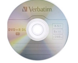Verbatim DVD+R DL 8.5GB 8X with Branded Surface - 20pk Spindle,Minimum Qty. 6 - 95310