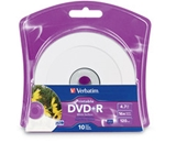 Verbatim DVD+R 4.7GB 16X White Inkjet Printable with Branded Hub - 10pk Blister,Minimum Qty. 6 - 96940