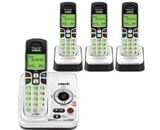VTech CS6229-4 DECT 6.0 Cordless Phone, Black/Silver, 4 Handsets