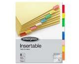 Wilson Jones Insertable Binder Tab Dividers, 8 Tab Multicolor (W54311A)