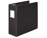 Wilson Jones 384 Line Heavy-Duty Locking D-Ring Binder, With Label Holder, 4-, Black