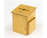 Wood Suggestion Box, Ballot Box with Side Pocket, Locking Hinged Lid and Pen, for Wall or Counter - Mediun Oak (Ballots Not Included)