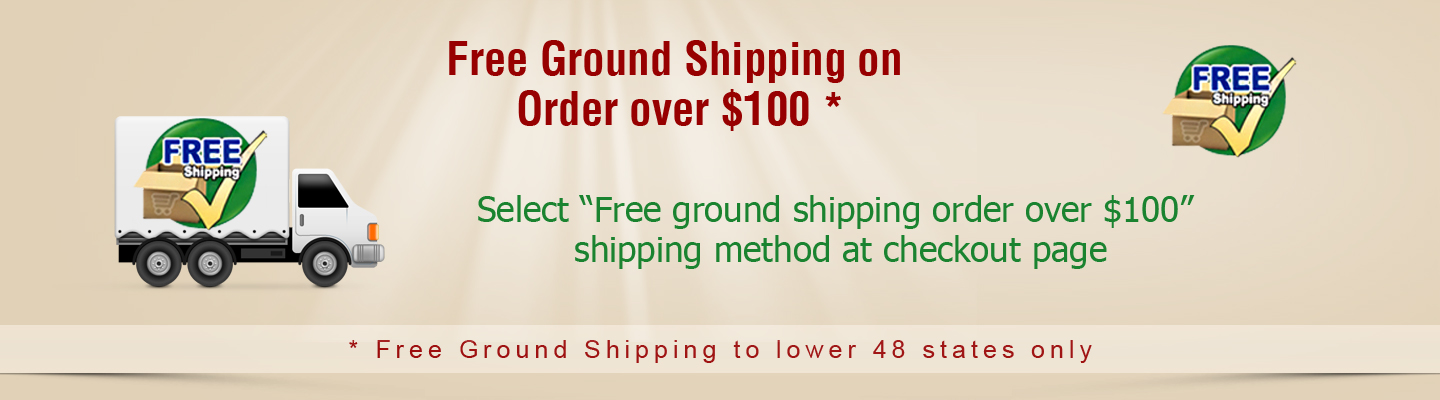 Free Ground Shipping to Lower 48 states only